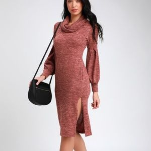 *LAST ONE! HeatherRed Cowl Neck Midi Sweater Dress